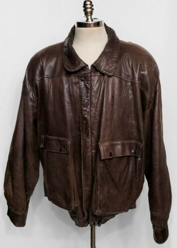 Vintage Mens Brown Leather Flight Bomber Jacket 60
