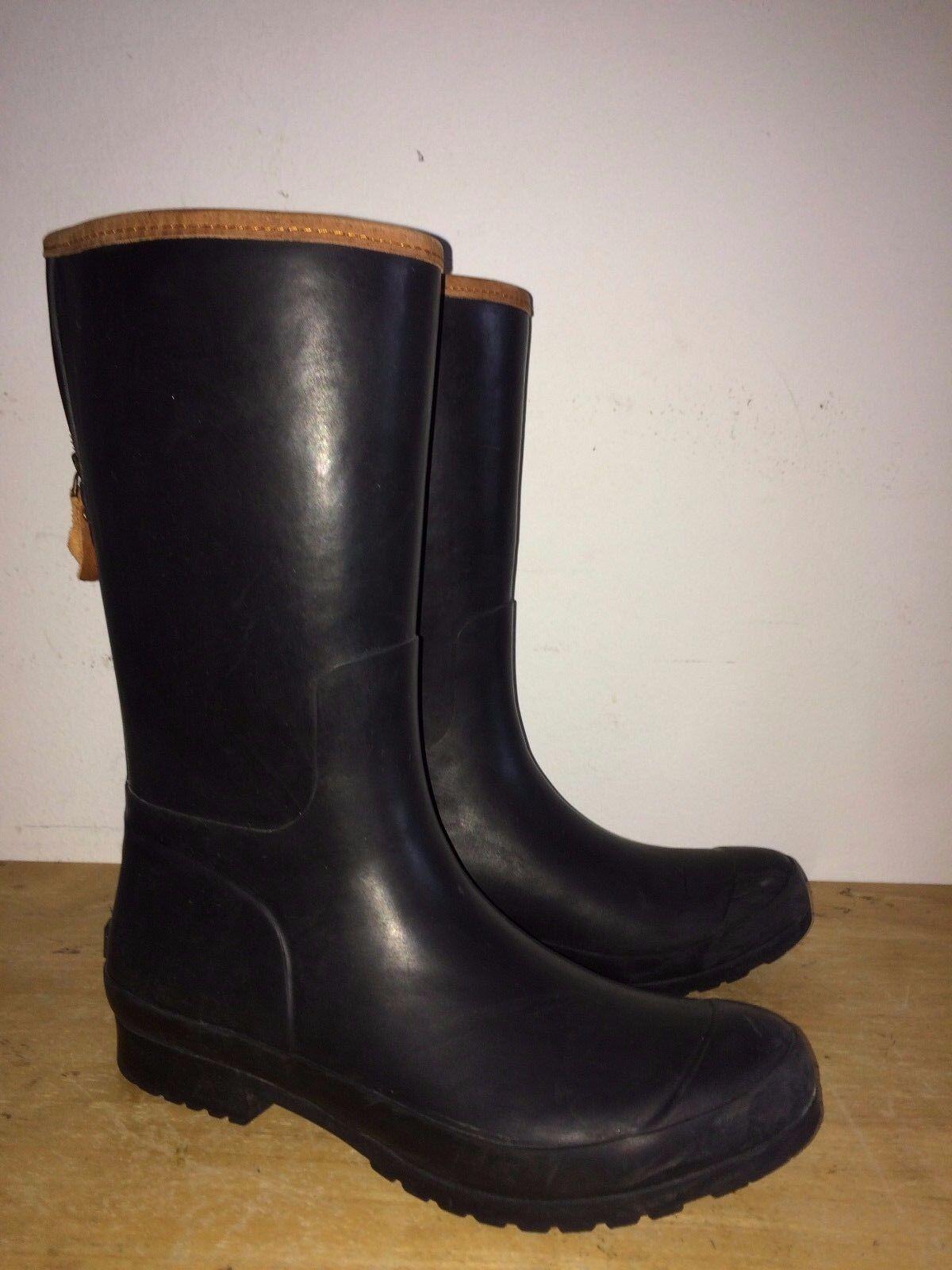 Sperry Top-Sider Walker Mist Black Waterproof Zipper Rubber Boots Size 11 M