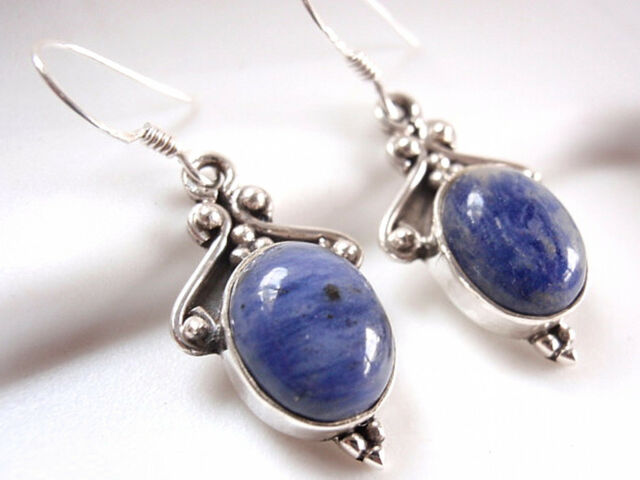 Accented Sodalite Earrings 925 Sterling Silver Ethnic Tribal Style Dangle