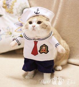 Image is loading Pet-Halloween-Costume-Sailor-Uniform-Suit-Dog-Cat- & Pet Halloween Costume Sailor Uniform Suit Dog Cat Puppy Kitty Sea ...
