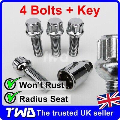 4x ALLOY WHEEL LOCKING BOLTS FOR SEAT ALHAMBRA M14x1.5 RADIUS LUG NUT Wb