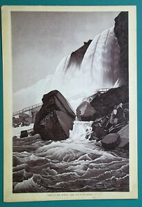 NIAGARA-FALLS-Cave-of-the-Winds-1892-Antique-Lithograph