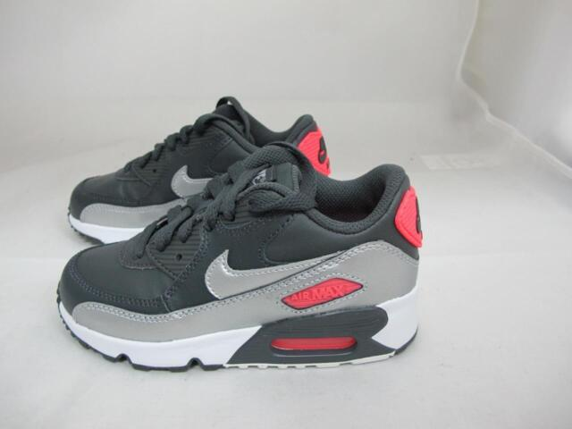 11839bcae33f Nike Air Max 90 833377-009 Anthracite Metallic Silver Leather Casual Shoes  Youth Grays 12