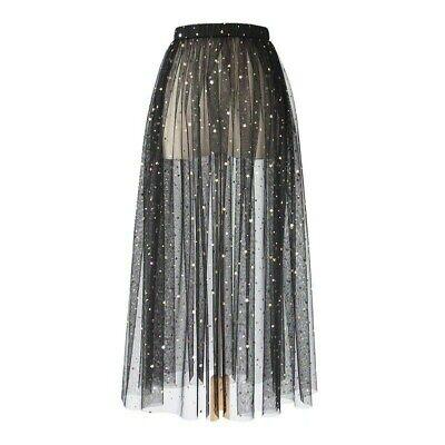 Women Lace Tulle Mesh Skirt Sparkle Glitter Petticoat Underskirt Sheer Shiny