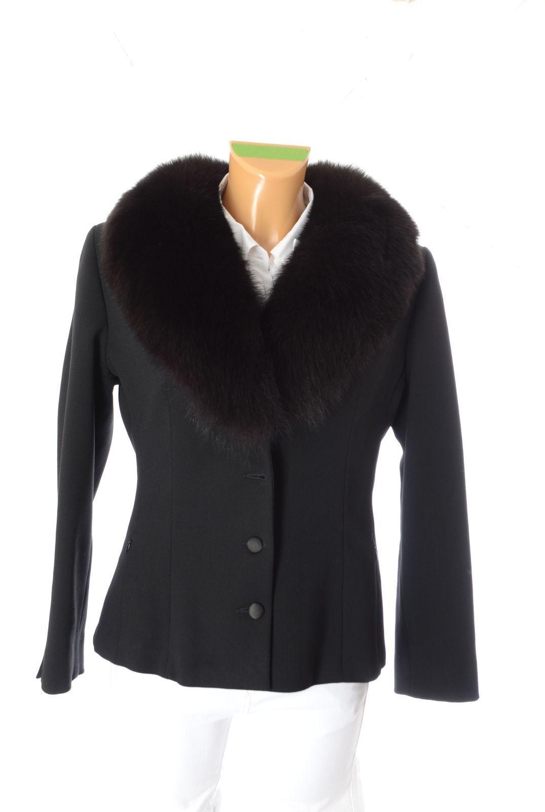 02f79434a1c53e Blaumarine Designer Jacke Gr.M 38 40 Schwarz Wolle Echtfell Kragen Damen  Mantel nshnrx2741-neue Kleidung
