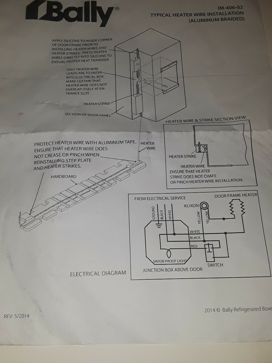 Bally Refrigerated Boxes 018291 Aluminum id Framer Heater Wire ... on refrigeration piping diagrams, refrigeration system diagram, whirlpool schematic diagrams, refrigeration circuit diagram, refrigeration tools, refrigeration blueprints, refrigeration cycle diagram,