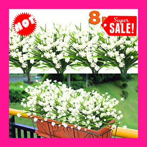 8 Pack Artificial Flowers Outdoor Uv Resistant Plants Shrubs Fake Bushes Greener 313036633617 Ebay