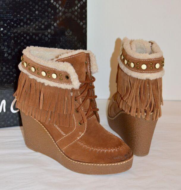 9e7bdbbbf3a5 New Sam Edelman Kemper Mocha Brown Suede Fringe Wedge Platform Ankle Boots  7.5