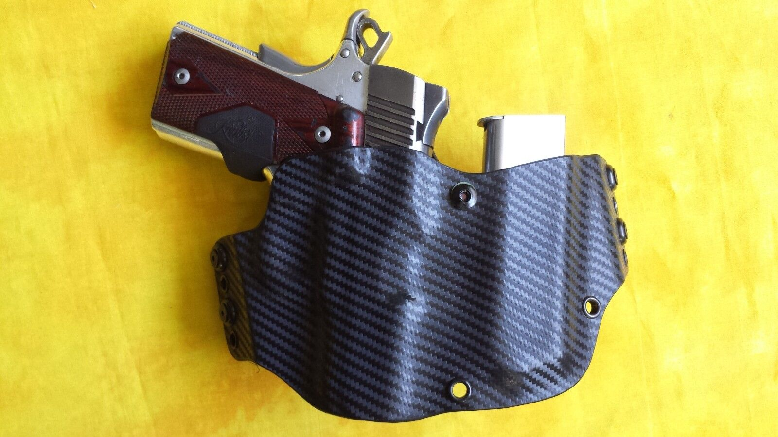 Funda Con Extra Mag Negro KYDEX se ajusta Kimber Micro 380 con Crimson Trace owb