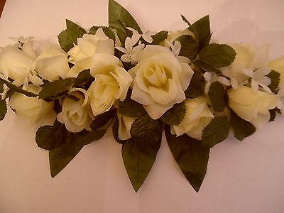 WEDDING IVORY ROSE/GREEN LEAF/ SILK ROSE FLOWER TABLE DECORATION/SWAG