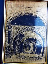 """Framed Miniature PAINTING 22K Gold Foil Classic Arcade of Arches 917 """"R"""" 0.0044g"""
