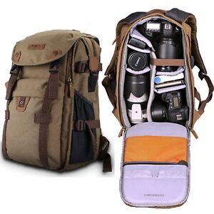 new retro canvas theftproof rucksack dslr camera bag