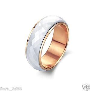 alliance céramique blanc plaqué or rose anti-stress joaillerie 1 Bague anneau