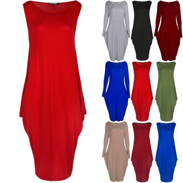 Womens Italian Drape Lagenlook Sleeveless Side Pockets Ladies Baggy Midi Dress