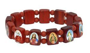 Saint-Bead-Bracelet-Brown-Wood-Stretch-Elastic-Religious-Christian-Icons-Jewelry