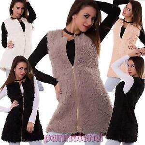 best service df5f2 7a034 Dettagli su Gilet donna fur pelliccia ecologica zip smanicato giacca  giaccone nuovo 3310