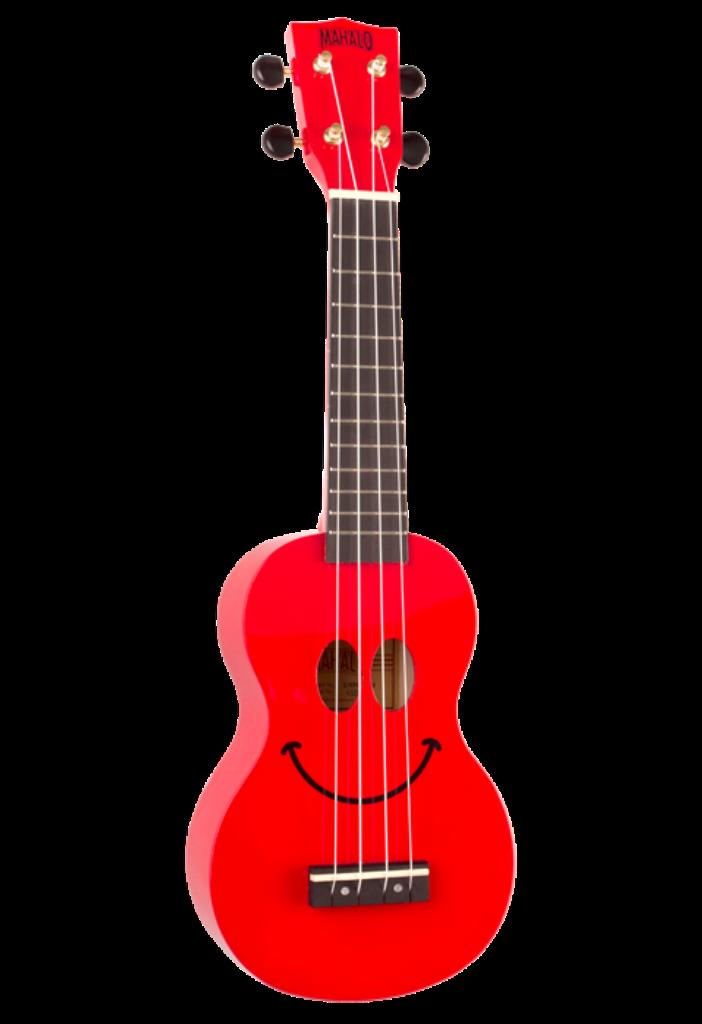 Mahalo Smile Sopran Ukulele - enthält schwarz Mahalo Carry-Bag - Rot Smiley