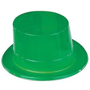 Green-Plastic-Top-Hat-Leprechaun-St-Patricks-Day-Costume-Accessory-Prop-Party