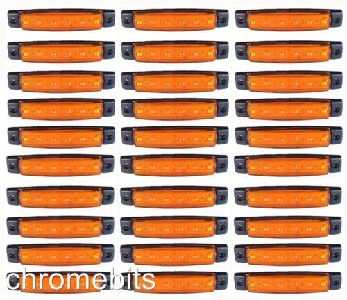 30 X 12v 12 Volts SMD 6 Led Jaune Clignotant Remorque Utilitaire Bus
