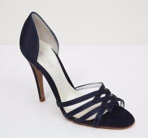 160ed94a5e4 SERGIO ROSSI Womens Navy Blue Satin Strappy Open Toe High Heel Pump ...
