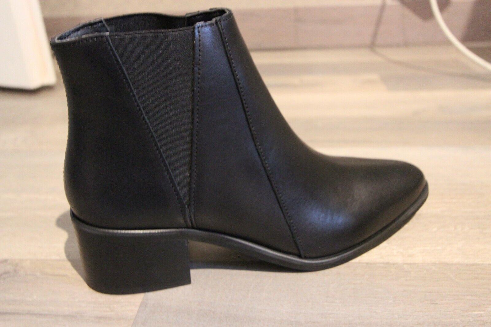 ANNA FIELD Bottes basses cuir noires à enfiler Taille 38