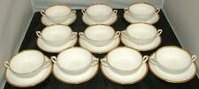 Royal Worcester Viceroy GOLD Trim 10 Double Handle Cream Soup Bowls with Stands