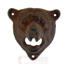 Bear Beer Bottle Opener Rustic Cast Iron Lodge Cabin Decor Wall Mounted
