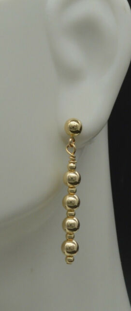 14K Dainty Sweet Solid Yellow Gold Round Bead straight drop dangle Earrings