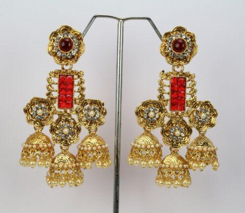 Indian Fashion Jewelry plaqué or femme nouveau Pendantes Boucles D/'Oreilles Jhumka