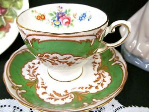 TUSCAN-tea-cup-and-saucer-Green-and-floral-rose-painted-Tall-teacup-shape