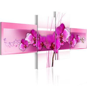 wandbilder xxl blumen orchidee leinwand bilder 4 teilig wohnzimmer 020110 23 ebay. Black Bedroom Furniture Sets. Home Design Ideas