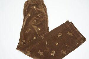 Polo Ralph Lauren Brown Corduroy Ebroidered Pheasant Rifles Hunting Pant 33/30