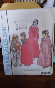 Oop-Mccalls-5318-girls-xmas-morning-robe-granny-nightgown-pjs-sz-6-8-NEW
