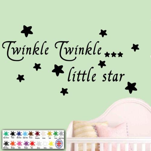 wallart bébé chambre à coucher Baby wall sticker citation-twinkle twinkle étoiles enfant
