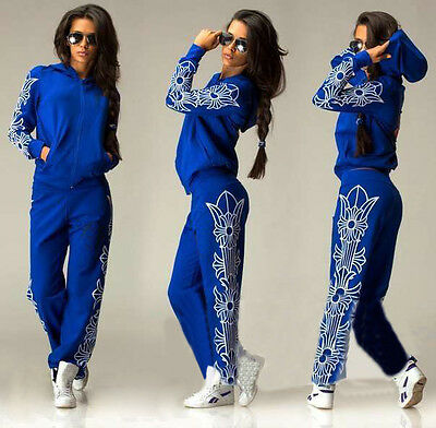 Sexy Casual Women Sports Tops Sweatshirt+ Pants Track Sweat Suits 2Pcs Tracksuit