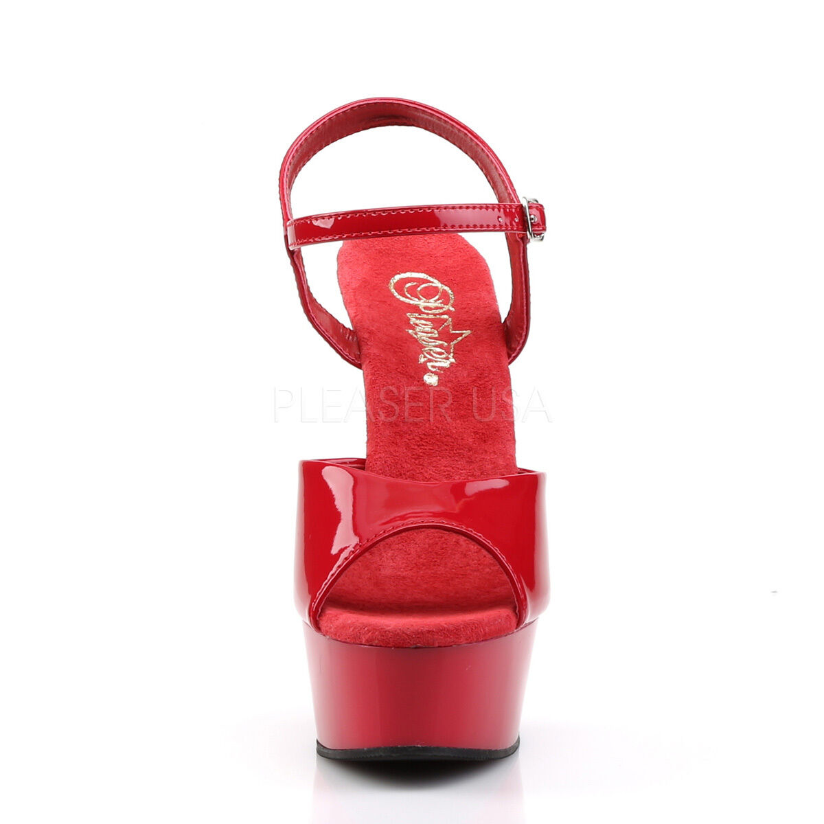 Pleaser Delight-609 Ladies Red Stiletto Heel Platform Platform Platform Slide Ankle Strap shoes afc036