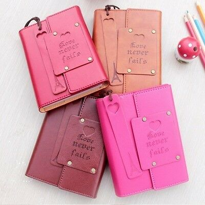 """""""Love Never Fails"""" 1pc Cute Diary Journal Planner Pocket Notebook Faux Leather"""