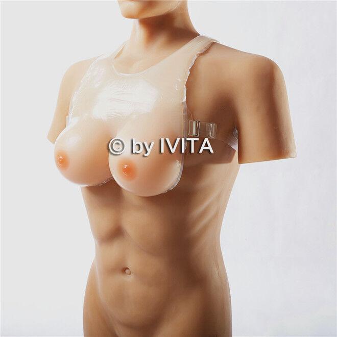 1400g Crossdress Silicone Breast Form With Straps Transgender Sissy Boobs IVITA
