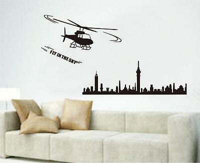 Helicopter city Home Decor Removable Wall Sticker/Decal/Decoration
