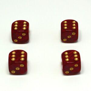 Set-of-Four-Red-Pearl-Dice-Dust-Caps-X4-80-039-s-Retro-Valve-Caps-BMX-VW