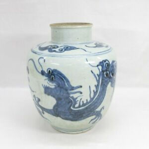 D0008: Real old Korean (Joseon) blue-and-white porcelain RARE BIG vase w/draogn