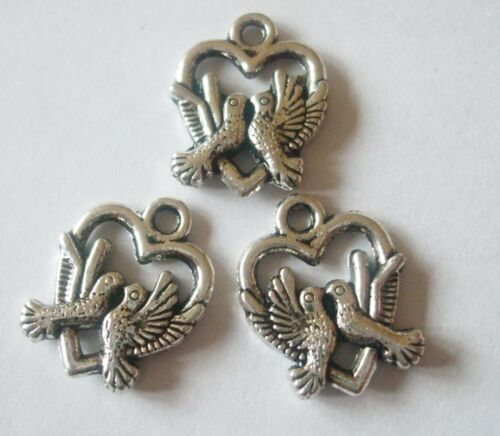 10 x  Love Heart Charms 19x16mm Love Birds Dove Antique Silver Tone Crafts