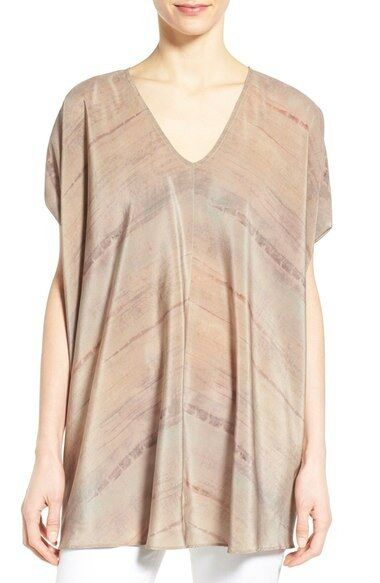 Eileen Fisher Stripe Mocha V-Neck Wedge Silk Tunic Top XL, L, M, S, XS, XXS