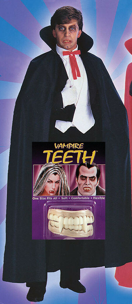 Dracula Vampire Black Cape Cloke WITH TEETH HalloweenFancy Dress Costume Outfit