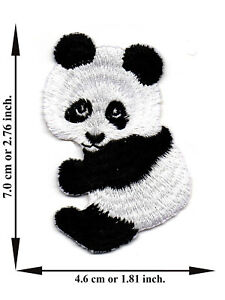 Panda-Animal-Bear-Cute-Zoo-Iron-On-Patch-Embroidered-Applique-Crafts-Sew-DIY