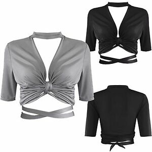 Damen-Slinky-Plunge-Halsband-Wrap-Over-Crop-Top-Knot-Damen-Crossover-V-Ausschnitt-Tops