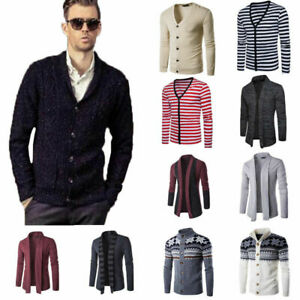 Mens-V-Neck-Casual-Cardigan-Knit-Sweater-Jacket-Knitwear-Coat-Blazer-Blouse