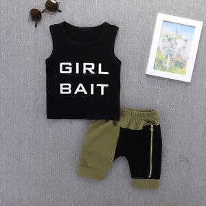 01bfd238a650 Summer Toddler Kids Baby Boy Clothes Vest Top Tee Short Pants Outfts ...