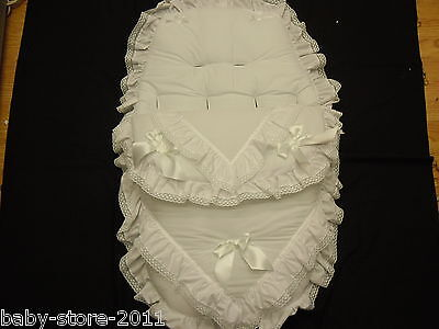BEAUTIFUL PRAM  COSYTOES FOOTMUFF ROMANY STYLE BLING  WHITE  WITH  DIAMANTES