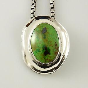 Southwestern green gaspeite heart pendant Silver Handmade Gaspeite Heart Drop Pendant Sterling Silver Unique Green Gaspeite Heart Pendant